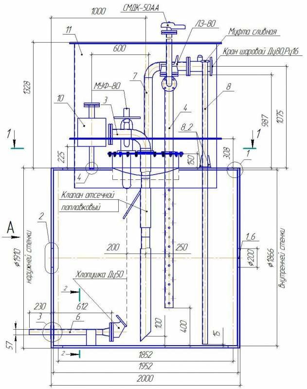 Резервуар горизонтальный стальной РГСП-10м3, одностенный