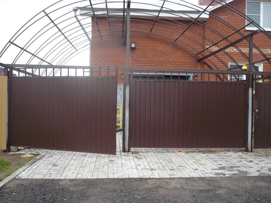 Купить въездные ворота распашные металлический штакетник гродно